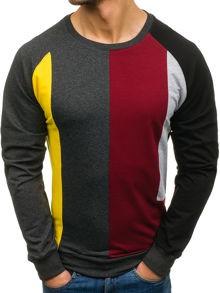Bordowa bluza denley w street stylu z bawełny