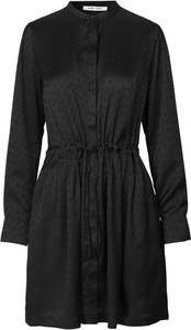 Czarna sukienka Samsøe & Samsøe z tkaniny z długim rękawem koszulowa