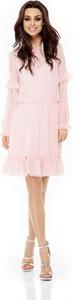 Różowa sukienka Lemoniade ze sznurowanym dekoltem mini