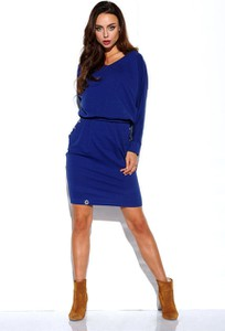 Niebieska sukienka Lemoniade w stylu casual z bawełny mini