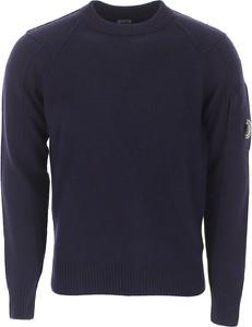Niebieski sweter C.P. Company w stylu casual z okrągłym dekoltem