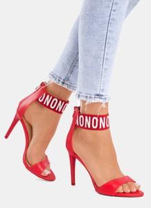 Czerwone sandały DeeZee na obcasie na wysokim obcasie