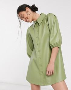 Sukienka Ghospell ze skóry mini z długim rękawem