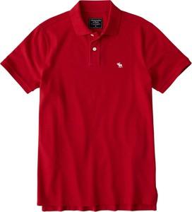 Czerwona koszulka polo Abercrombie & Fitch z krótkim rękawem z dżerseju