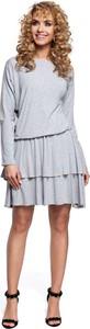 Sukienka MOE rozkloszowana z długim rękawem mini