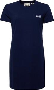 Niebieska sukienka Superdry z okrągłym dekoltem w stylu casual