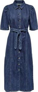 Niebieska sukienka Only w stylu casual z długim rękawem z kołnierzykiem
