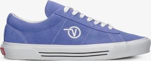 Niebieskie buty sportowe Vans ze skóry w sportowym stylu