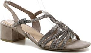 Sandały Marco Tozzi ze skóry z klamrami na obcasie