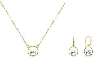 Irbis.style srebrny pozłacany komplet biżuterii - kolczyki i naszyjnik z kryształem Swarovski®