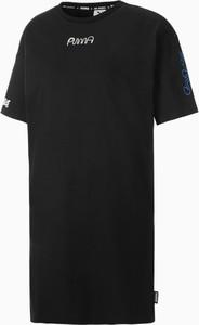 Czarna sukienka Puma z okrągłym dekoltem w sportowym stylu z bawełny