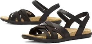 Czarne sandały Merrell ze skóry z płaską podeszwą na rzepy
