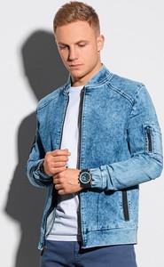 Niebieska kurtka Ombre krótka z jeansu