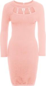 Różowa sukienka bonprix bodyflirt boutique z długim rękawem midi z aplikacją