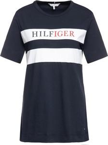 Granatowy t-shirt Tommy Hilfiger z okrągłym dekoltem w młodzieżowym stylu