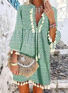 Sukienka Sandbella mini z długim rękawem w stylu boho