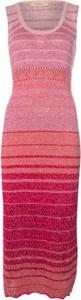 Różowa sukienka Twinset bez rękawów dopasowana z okrągłym dekoltem