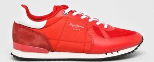 Czerwone buty sportowe Pepe Jeans ze skóry