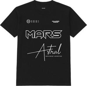 Czarny t-shirt MAJORS w młodzieżowym stylu z okrągłym dekoltem