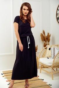 Sukienka Promese z okrągłym dekoltem maxi z krótkim rękawem