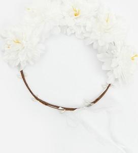 Reserved - Opaska do włosów z kwiatami - Kremowy