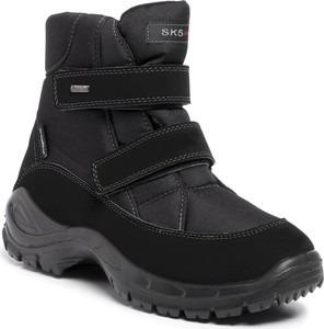 Czarne buty zimowe Manitu na rzepy