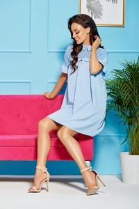 Niebieska sukienka TAGLESS mini z kołnierzykiem z szyfonu