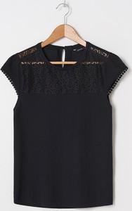 Czarna bluzka House w stylu casual z krótkim rękawem