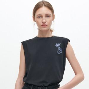 Czarna bluzka Reserved w stylu casual z bawełny