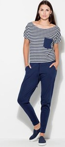 Niebieski kombinezon Katrus z długimi nogawkami w stylu casual