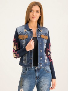 Granatowa kurtka Desigual z jeansu krótka