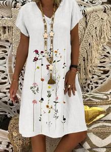 Sukienka Arilook z dekoltem w kształcie litery v z bawełny z krótkim rękawem