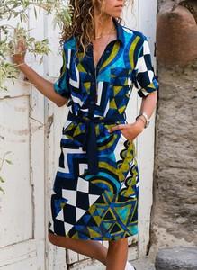 Sukienka Cikelly szmizjerka w stylu casual z długim rękawem