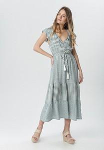 Miętowa sukienka born2be maxi w stylu casual