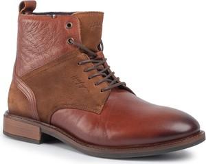 Czerwone buty zimowe Tommy Hilfiger sznurowane