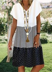 Sukienka Sandbella z krótkim rękawem z bawełny