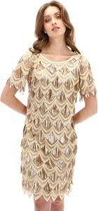 Sukienka L'AF prosta z krótkim rękawem mini