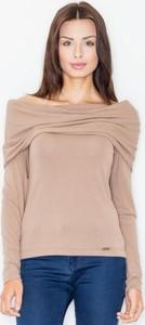 Bluzka Figl z tkaniny z długim rękawem w stylu casual