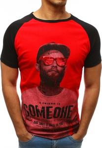 Czerwony t-shirt Dstreet z bawełny z krótkim rękawem z nadrukiem