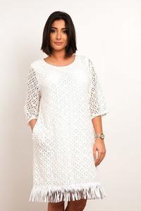 Sukienka Plus Size Fashion z długim rękawem mini z okrągłym dekoltem