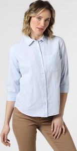 Niebieska bluzka Marie Lund z długim rękawem z kołnierzykiem z bawełny