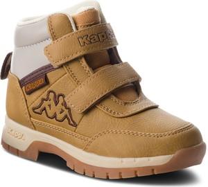 Brązowe buty dziecięce zimowe Kappa na rzepy
