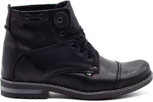 Czarne buty zimowe Komodo w stylu casual sznurowane