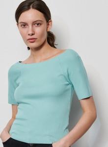 Zielona bluzka Reserved w stylu casual z krótkim rękawem
