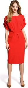 Sukienka Made Of Emotion prosta z krótkim rękawem z okrągłym dekoltem