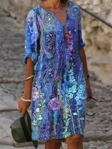 Niebieska sukienka Elegrina z długim rękawem