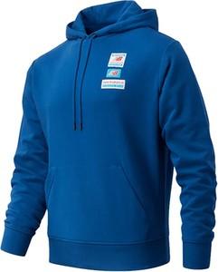 Niebieska bluza New Balance w sportowym stylu z bawełny z nadrukiem