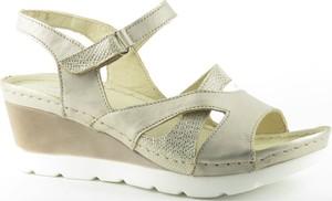 Brązowe sandały Helios na rzepy ze skóry na wysokim obcasie