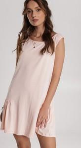 Różowa sukienka Renee bez rękawów z okrągłym dekoltem