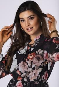 Sukienka Ptakmoda.com z szyfonu w stylu casual z długim rękawem